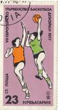 Girl`s basketball championship. Postage stamp `Girl`s basketball championship`Bulgaria, 1977 royalty free stock images