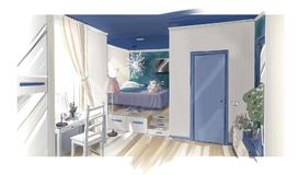 Girl`s bedroom interior. Color illustration royalty free illustration