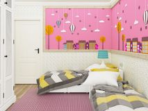 Girl`s bedroom in pink with beds and cute decoration on the wall. 3d rendering. Example of girls room render in Minsk with wooden floor and pink carpet. 3d Stock Images