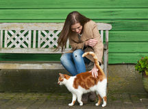 Girl's Bestfriend. Cute girl petting a furry cat outdoor. Sitting on wooden bench with green wall background Stock Photos