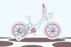 Girl`s bicycle on abstract background vector stock illustration