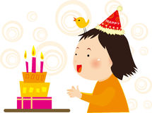 Girl's birthday. Bird and the girl's birthday cake Royalty Free Stock Images