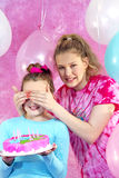 Girl's Birthday Party Surprise. Girls having fun at birthday party Royalty Free Stock Images
