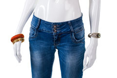 Girl's blue skinny-fit jeans. Royalty Free Stock Photography