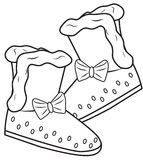 Girl's boots coloring page. Useful as coloring book for kids Stock Photos