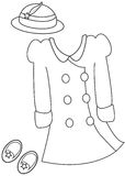 Girl's clothes coloring page Royalty Free Stock Photo