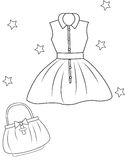 Girl's dress and bag coloring page Stock Photos