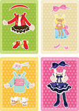 Girl's dress cards Stock Images