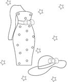 Girl's dress and hat coloring page Royalty Free Stock Photo