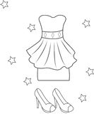 Girl's dress and sandals coloring page Stock Photos