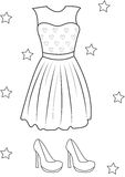 Girl's dress and shoes coloring page Stock Photography