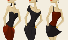 Girl's dresses. Set of girl's figures in different types of dresses Royalty Free Stock Photos