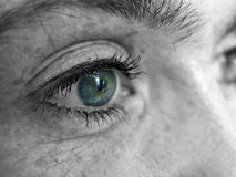 Girl's eye. Closeup of a girls eye. B&W with selective color royalty free stock photos