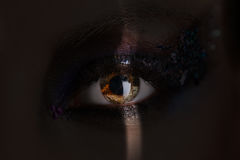 Girl's eye with makeup and colorful crystals in a shadow. Close up royalty free stock photography