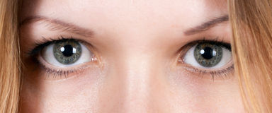 Girl's eyes closeup Stock Images