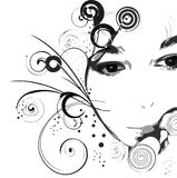 Girl's face. Grunge background - girl's face with circles and curles Royalty Free Stock Photos