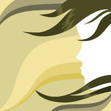 The girl's face on abstract background. The girl's face in profile on an abstract background vector illustration