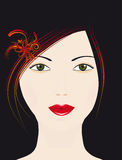 He girl's face on a black background Royalty Free Stock Photo