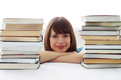 The girl's face and Books Royalty Free Stock Images