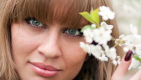 Girl's face and cherry flowers Stock Photos