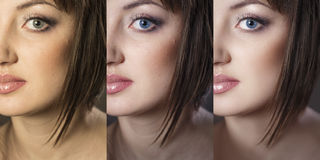 Girl's face close up in 3 options: the original, after color cor. Beautiful woman with before and after skin: problem skin with blemishes and clear complexion Stock Photos