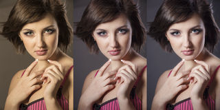 Girl's face close up in 3 options: the original, after color cor Royalty Free Stock Photography