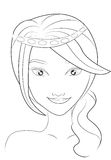 Girl's face coloring page Royalty Free Stock Photo