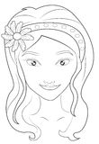 Girl's face coloring page Stock Image