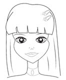 Girl's face coloring page Royalty Free Stock Image