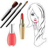 The girl's face, and cosmetics. Royalty Free Stock Photography