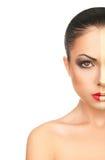 Girl's Face with creative christmas Makeup Stock Photos