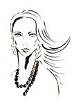 The girl's face drawn with ink Royalty Free Stock Photos