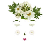Girl's face from the front  made of white flowers and leaves iso Stock Photo