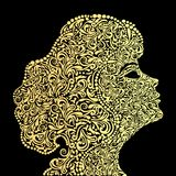 Girl`s face from the golden floral ornament. Illustration a girl`s face from the golden floral ornament stock illustration