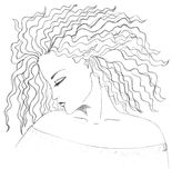 Girl`s face and hair drawing Stock Photos