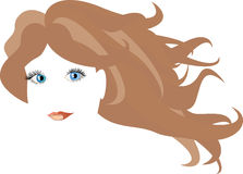 The girl's face and long hair in vector. Royalty Free Stock Image