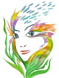 The girl`s face is made up of fish and algae surrealism Stock Image