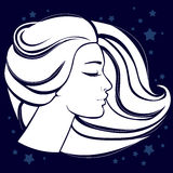 Girl's face in profile white silhouette. The girl's face in profile white silhouette framed by hair on dark blue background with stars royalty free illustration