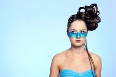 Girl's fantasy blue body-art Stock Photography
