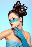 Girl's fantasy blue body-art Royalty Free Stock Photography