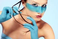 Girl's fantasy blue body-art Royalty Free Stock Photography