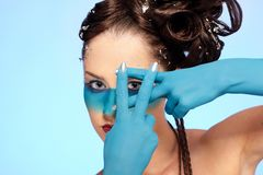 Girl's fantasy blue body-art Royalty Free Stock Images