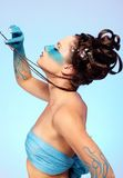 Girl's fantasy blue body-art Stock Photo
