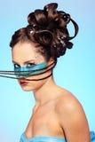 Girl's fantasy blue body-art stock images