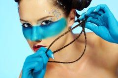 Girl's fantasy blue body-art Royalty Free Stock Image