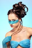 Girl's fantasy blue body-art Stock Image