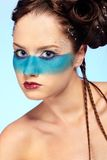 Girl's fantasy blue body-art Stock Images