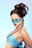 Girl's fantasy blue body-art Stock Photos