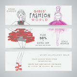 Girl's fashion world website header or banner set. Royalty Free Stock Image
