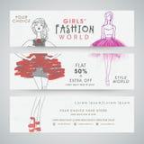 Girls fashion world website header or banner set. Royalty Free Stock Image